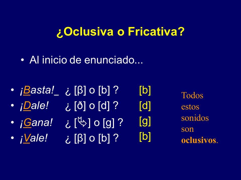 ¿Oclusiva o Fricativa Al inicio de enunciado... ¡Basta! ¿ [β] o [b]